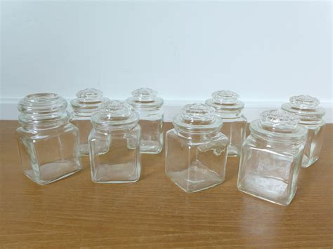 Small Glass Bottles For Spices Eight Small Glass Jars Apothecary Jars Spice Jars Storage