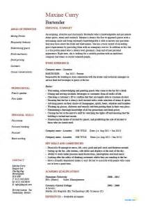 Bartender Resume Description bartender resume hospitality exle sle