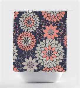 blue coral bathroom accessories coral and navy blue flower shower curtain geometric shower curtain