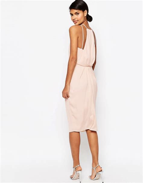 Dress Midi Vb Back asos asos drape back midi pencil dress at asos