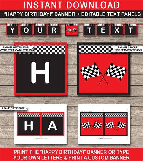 cars birthday banner template race car banner template birthday banner