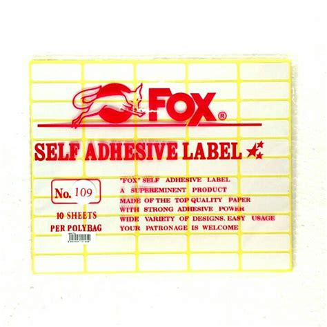 Fox Label Stiker 105 Undangan Nama Self Adhesive jual fox label stiker 109 undangan nama self