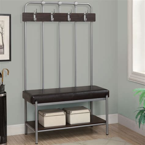 storage benches for halls black metal entryway storage bench with coat rack