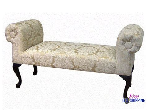 White Wooden Ottoman Classic Wooden Bedroom Bench Wood Seat Upholstered White Ottoman Scroll Ebay