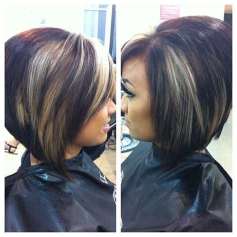 Mahogany Haircolr With Blond Highlights Stcked Bob Haircuts | warm mahogany brown with peekaboos h a i r pinterest