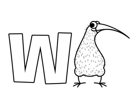 imagenes de animales con w dibujo de w de kiwi para colorear dibujos net