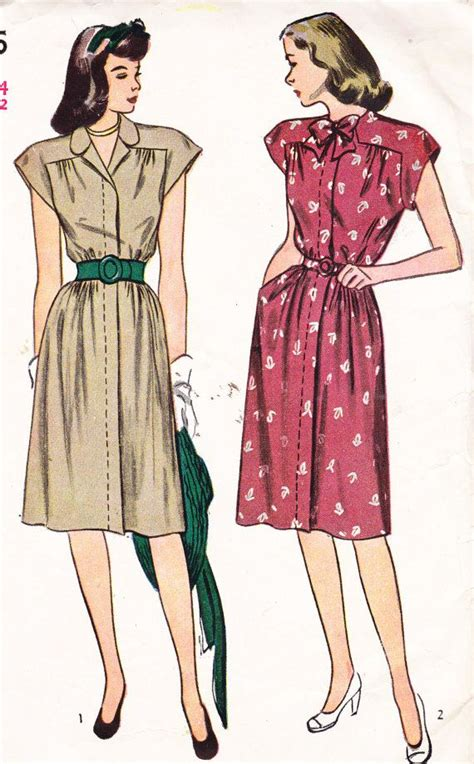 Womens belted dress vintage 1940 s sewing pattern simplicity 1595 bust