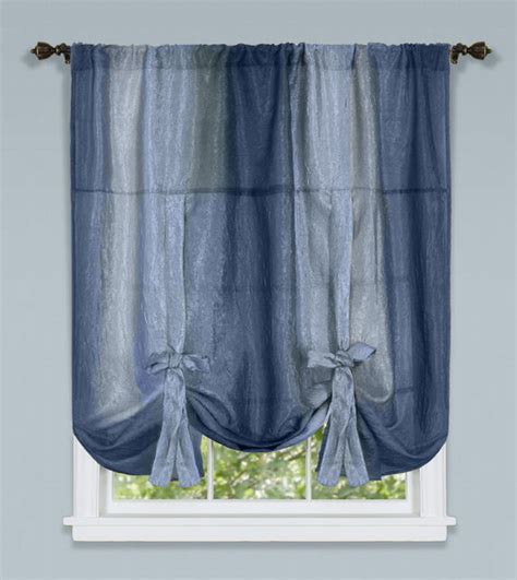 Tie Up Curtains Ombre Sheer Tailored Panels Blue Achim Tie Up Shades