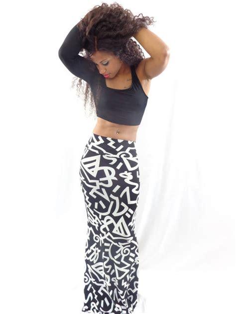 skirt high waisted skirt maxi skirt black and white
