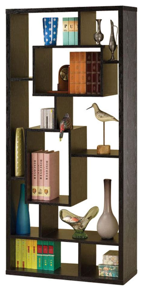 asymmetrical cube bookcase with shelves intricate design backless asymmetrical varying sizes cube