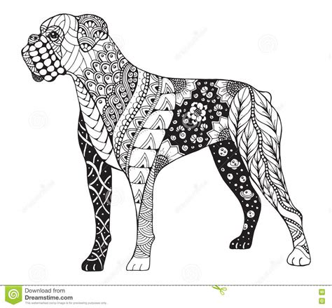 boxer dog zentangle stylized vector illustration