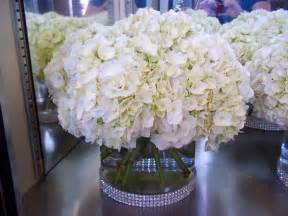 hydrangea centerpiece with rhinestone sash wedding style