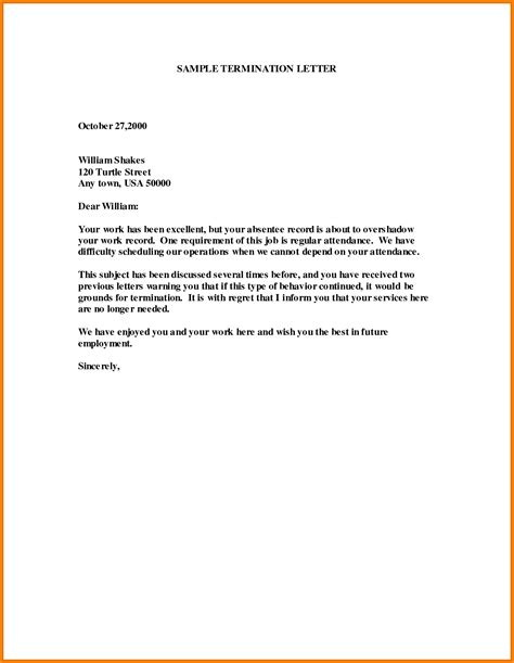 Employee Termination Letter Sle Doc Template Termination Of Employment 28 Images 14 Termination Letter Templates Free Sle