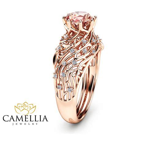 14k gold morganite engagement ring unique filigree design