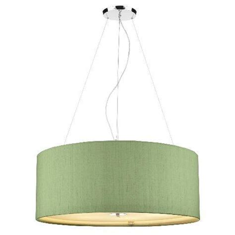 Green Ceiling Light Large Ceiling Pendant Light Drum Shaped Shamrock Green Silk Shade