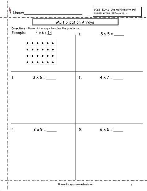 Array Worksheets by Multiplication Arrays Worksheet 2nd Grade