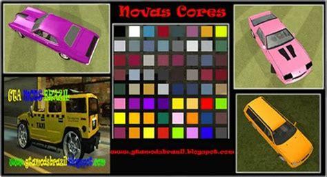mod de novas cores para os carros para carros do gta san