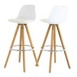 chaise haute de bar blanche tr 233 pied en bois style