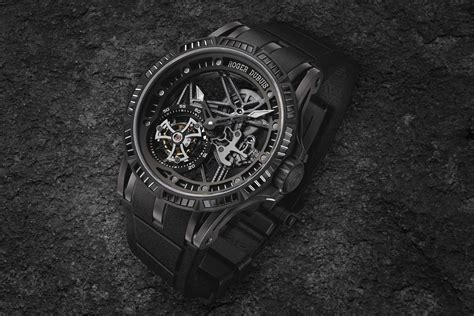 Roger Dubuis Excalibur Dual Tourbillon Black roger dubuis adds colored stones to the excalibur spider skeleton flying tourbillon monochrome