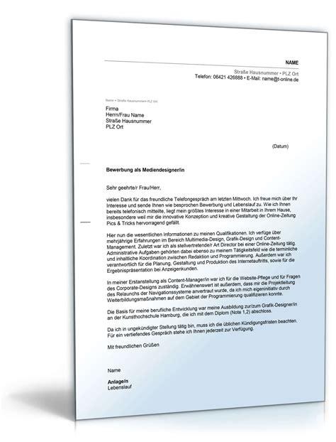 Deckblatt Bewerbung Grafik Design Anschreiben Bewerbung Mediendesigner Vorlage Zum