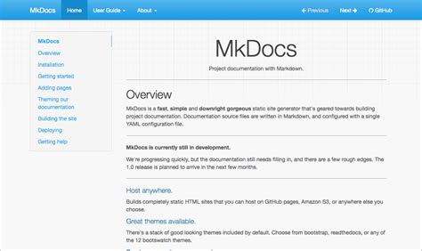 theme documentation template styling your docs mkdocs