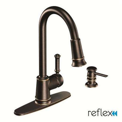 moen lindley 1 handle pull down sprayer kitchen faucet featuring reflex in mediterranean bronze
