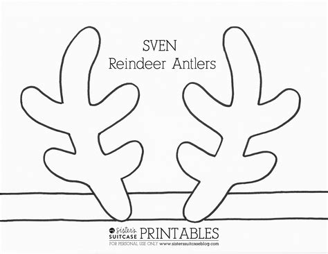printable reindeer antlers pattern frozen elsa crown template sven antler template