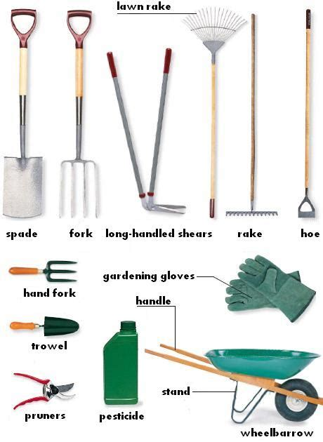 garden gathering garden tools with names and usages