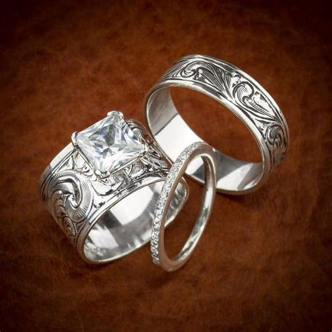 western wedding ring set wedding