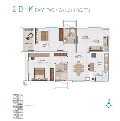 2 bedroom house plans east facing