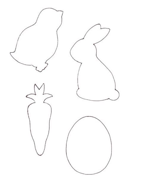 Cute Easter Outlines Bunny Chick Carrot Egg To Make Raster Garlands With Just Print On Garland Template