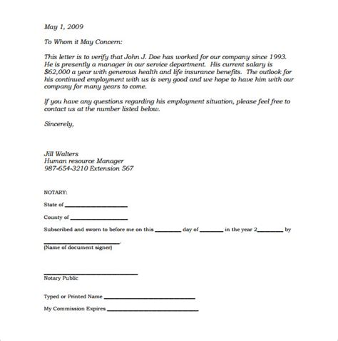 Verification Letter Sle How To Write A Notarized Letter Of Residence The Best