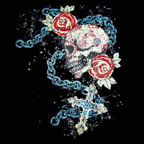 chain of roses tattoo skull roses chain cross t shirt ws213 ebay