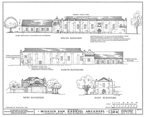 san gabriel mission floor plan drawing side and front of church