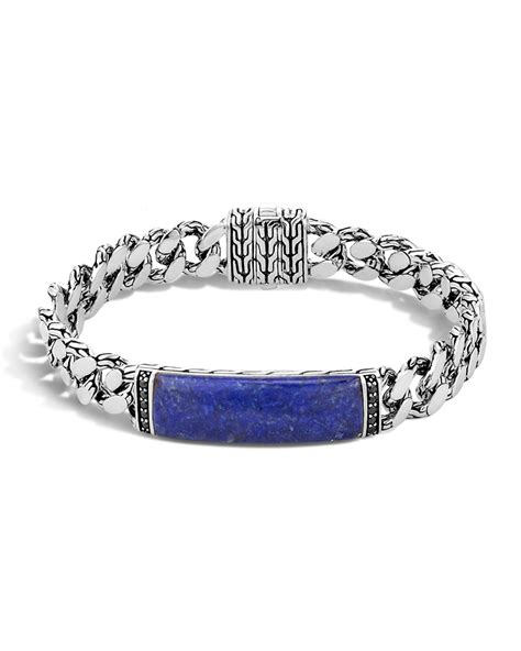 John hardy Gourmette Classic Chain Men's Bracelet With Lapis in Blue for Men   Lyst