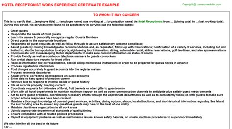 Work Experience Certificate Of Hotel hotel receptionist work experience certificate