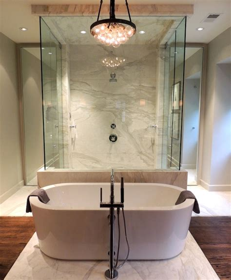 Free standing tub walk through shower chad james group bathrooms pinterest tubs group