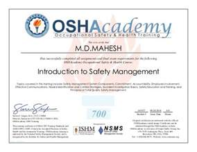 Health And Safety Certificate Template by Osha Management In Safety Certificate
