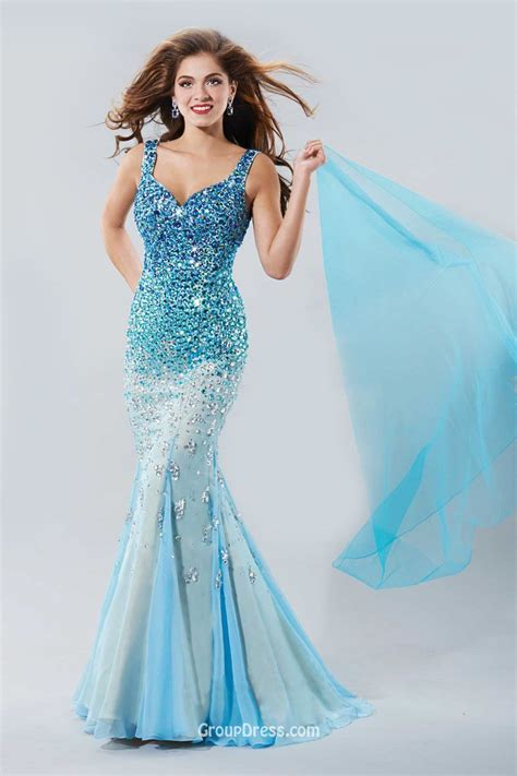 beaded blue dress mermaid sleeveless v back sparkly beaded blue prom