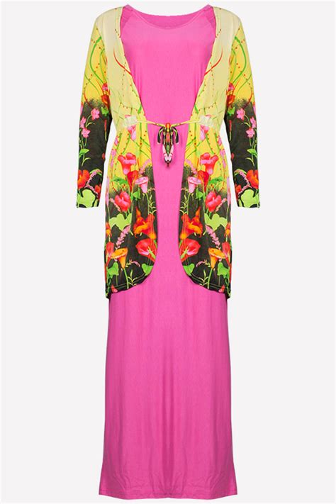 Kardigan Jubah Fashion 2 pieces floral design cardigan with batwing jubah dress including shawl dress