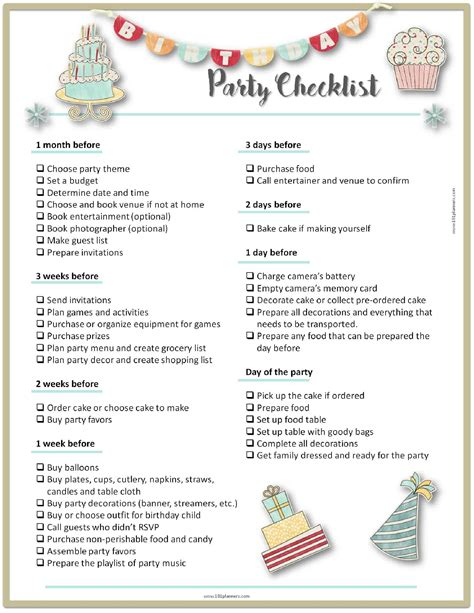 Party Planning Template Free Birthday Planning Templates
