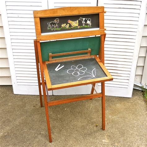 easel desk vintage child s chalkboard easel desk with rolling scroll