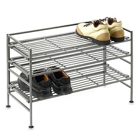 shoo rack bathroom buy 3 shelf wooden metal shoe rack from bed bath beyond