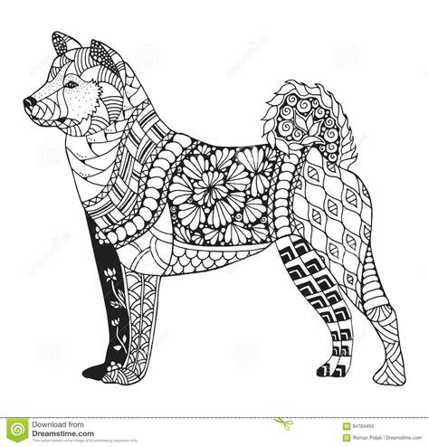 dog pattern drawing akita dog zentangle stylized vector illustration