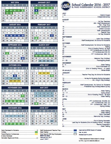 Episd Calendar 2016 2017 School Calendar Clardy Elementary