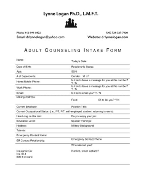 28 psychotherapy intake forms download sle
