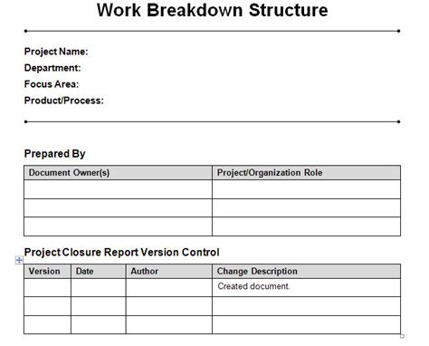 work breakdown structure word template work breakdown