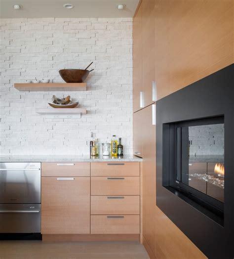 montigo linear fireplace fireplace in kitchen marble counter modern kitchen