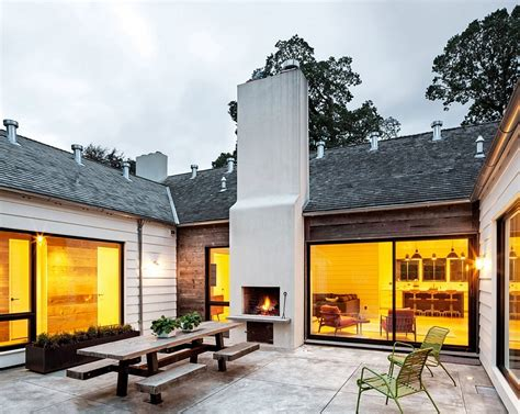 u shaped house with courtyard idyllic portland home blends industrial and mid century styles