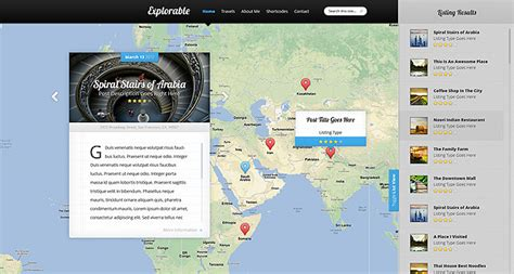 Explorable Location Wordpress Theme Interactive Map Website Template